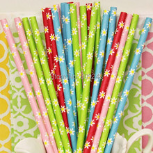 100pcs Mixed Colors Daisy Flower Paper Straws Pink Green Blue Red for Wedding Birthday Baby Shower Holiday Party Cocktail Bulk