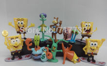 TraVelMall 10pcs/set spongebob doll action figures sponge bob Sandy Cheeks Patrick Star Mr.Krabs Plankton Gary for kids gift