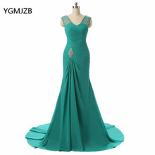 Elegant Long Mother Of The Bride Dresses 2018 Mermaid V Neck Cap Sleeve Beaded Crystal Green Evening Party Dress For Weddings(China)