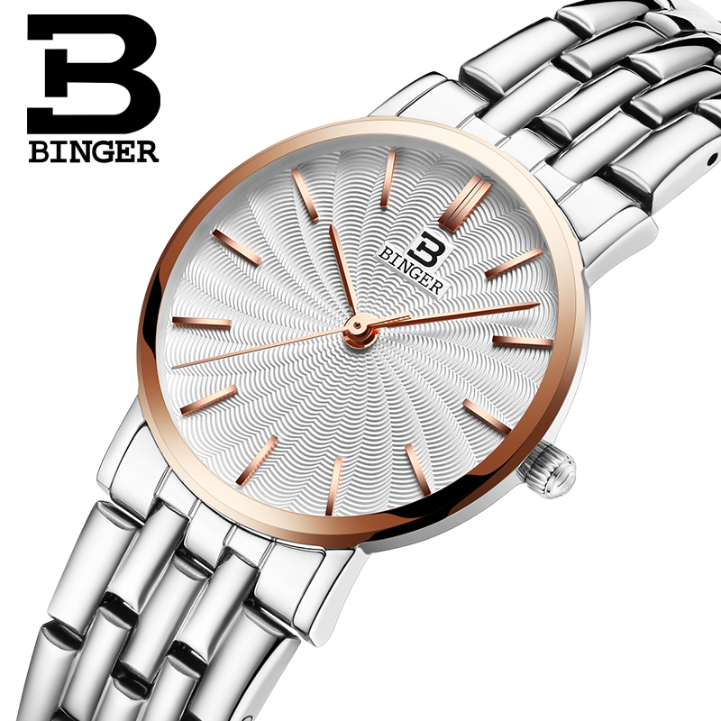 Switzerland BINGER Womens watches luxury brand quartz  full Stainless steel ultrathin Wristwatches Waterproof clock B3051W-3<br>
