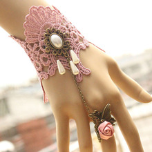 New arrival lace pink sexy girl lady princess party dancing performance Cosplay gloves chain  short w finger ring