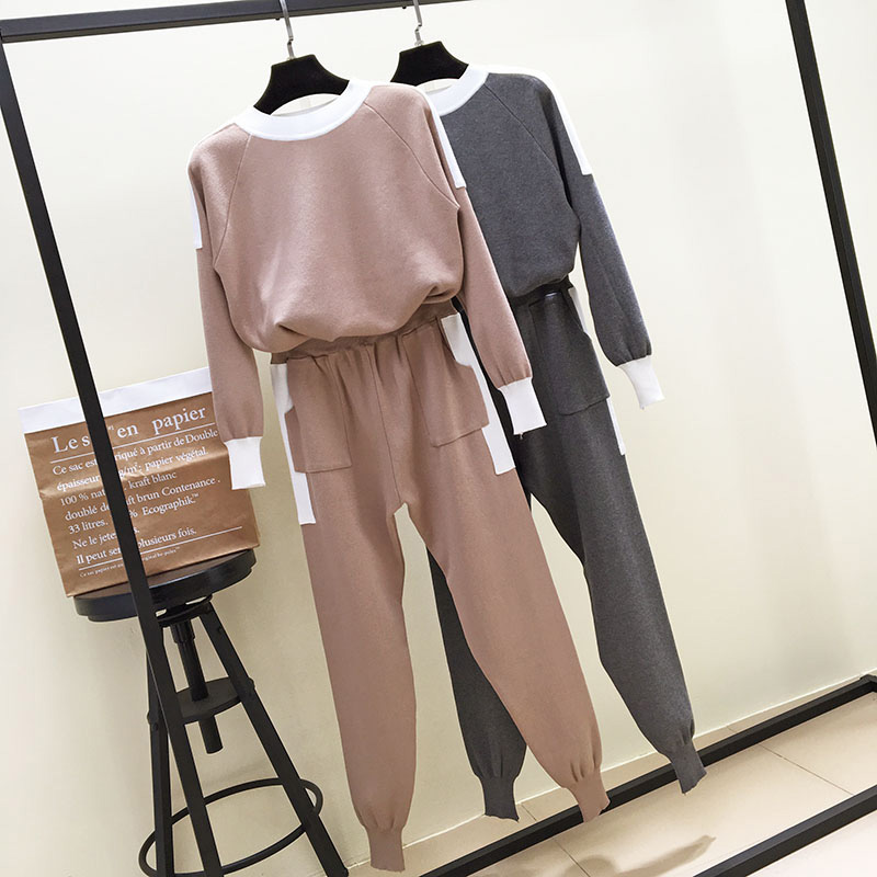 2018 New Autumn Winter Women's Round Collar Long Sleeve Sweater + Casual Haren Pants Two Pieces Female Knitted Trousers Set