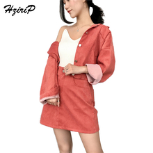 HziriP Women Two Piece Set Female 2018 New Spring Corduroy Jacket Cropped Top + Midi Skirt Suits Ladies Long Sleeve Outfit Femme(China)