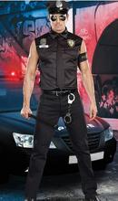 Male Police Costumes Boys Halloween Costume for men Deguisement Halloween Fancy Cosplay costume(China)