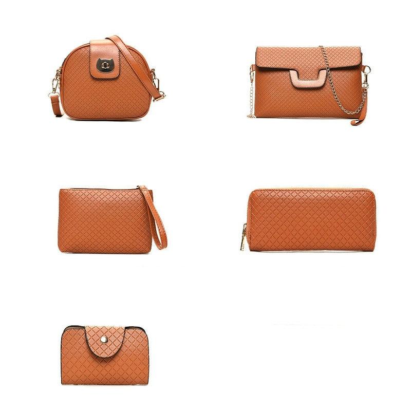 Brand Luxury Diamond Lattice PU Leather 6 Pcs Set Women Handbag Female Shoulder Crossbody Messenger Bag Lady Clutch Wallet