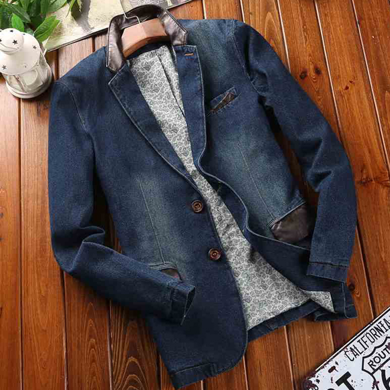 Spring Mens Denim Dress Suit Coat Outwear Dad Birthday Gifts Vintage 4XL Mens Jeans Cowboy Jacket Overcoats European Style C2100