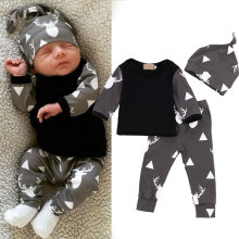 Buy Cute Comfortable Infant Baby Girls Boys Clothes 3 Pcs Tops T-shirt+ Pants Leggings + Hat Outfits Kids Clothing Set FJ88 for $5.29 in AliExpress store