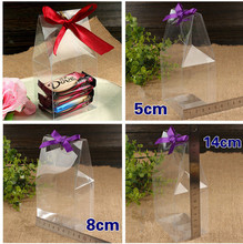 50Pcs 8*5*14CMPlastic Candy Packing Boxes Clear PVC Cake Storage Box FOR Wedding FAVOURS ,Holidays Supplies and Favors Gifts(China)