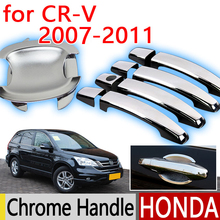 For Honda CRV 2007-2011 Chrome Door Handle Covers Trim Set of 4P Never Rust 2008 2009 2010 Car Accessories Stickers Car Styling