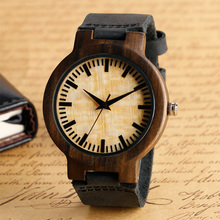 Hot Selling Black Genuine Leather Spot Dial Natural Wooden Watches Men's Casual Simple Quartz Watch Bamboo Hand made Wrist Clock