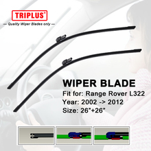 "Wiper Blade Fits for LAND ROVER Range Rover III L322 Vogue 1set 26""+26"" Upgrade Flat Aero Windscreen Frameless Soft Wiper Blades"