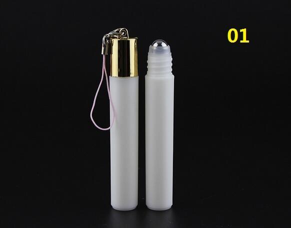 30/70pcs 8ML plastic roll on Bottle/steel bead ball Sample Perfume Vial,Small Essential Oil bottle Lip oil pendant metal cap<br>