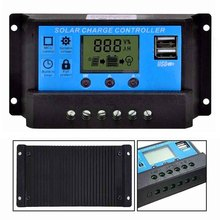 Intelligent Auto 10A 20A 30A 12V-24V LCD Display Dual USB Solar Panel Regulator Automatic Home Charge Controller