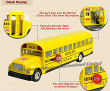 1:32 Scale Alloy Diecast Metal School Bus Car Model For BLUE BIRD Collection Model Pull Back Toys With Sound&Light - Style 2(China)