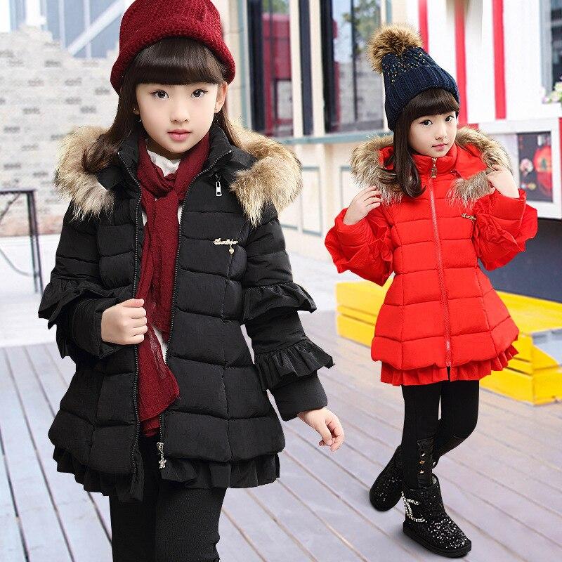 Girls dress outerwear black 2017 winter cute thick red long cotton padded jacket coat for 4 5 6 7 8 9 10 11 12 13 14 years childÎäåæäà è àêñåññóàðû<br><br>
