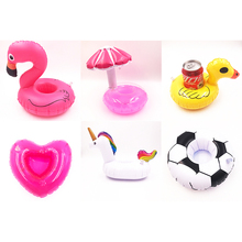 1 PCS Funny Cute  Float Inflatable Drink Holder Beach Toy Mushroom Unicorn Big Flamingo For Bath Party Bathroom pool INT01