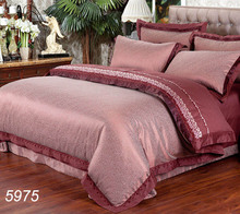 Wine red Jacquard bed linens tencel satin silk/cotton 4pcs bedding set comforter cover bed sheet pillow covers hot sale 5975(China)