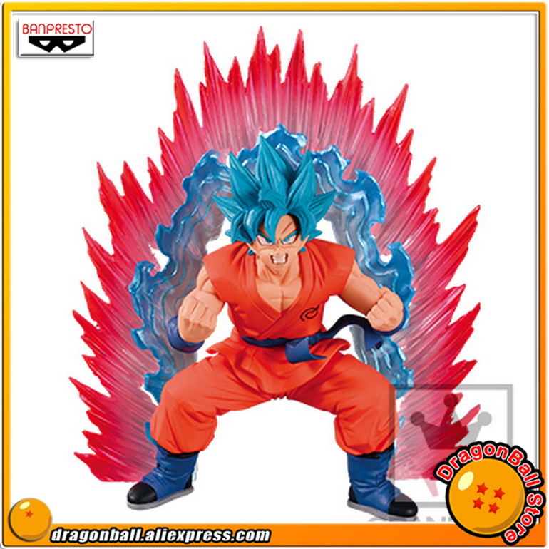 Japan Anime Dragon Ball SUPER Original Banpresto Cho Shingi Den Collection Figure - SSGSS Son Gokou Kaioken Blue<br>