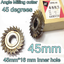45mm*45 degrees*16 mm Inner hole HSS Angle Milling cutter  HSS cutting tools  Free shipping