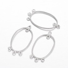 Jewelry DIY Findings Oval Brass Chandelier Links, Platinum,Silver,37x21x1mm,Hole:2mm(China)
