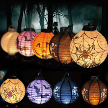 EZLIFE 1 pcs Halloween Decoration LED Paper Pumpkin Light Hanging Lantern Lamp Halloween Props Outdoor Party Supplies MJ01055(China)