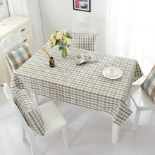 Tablecloth Waterproof Cheap Polyester Fabric Recyclable and Useful for Dining Table Blue White and Brown Plaid