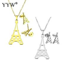 YYW Factory Price Gold-color Stainless Steel Jewelry Sets Eiffel Tower Stud Earring Women Punk Choker Chain Pendant Necklaces