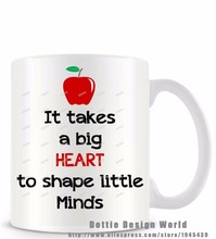 It takes a big heart to shape little minds funny novelty travel mug white coffee tea milk cup Personalized Teachers Easter gifts