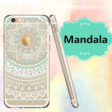 Phone Cases Clear Transparent Silicone Soft TPU Mandala Floral Flower Paisley Coque for iphone 6 7 5s 6s 7plus 6splus 5 SE Cover