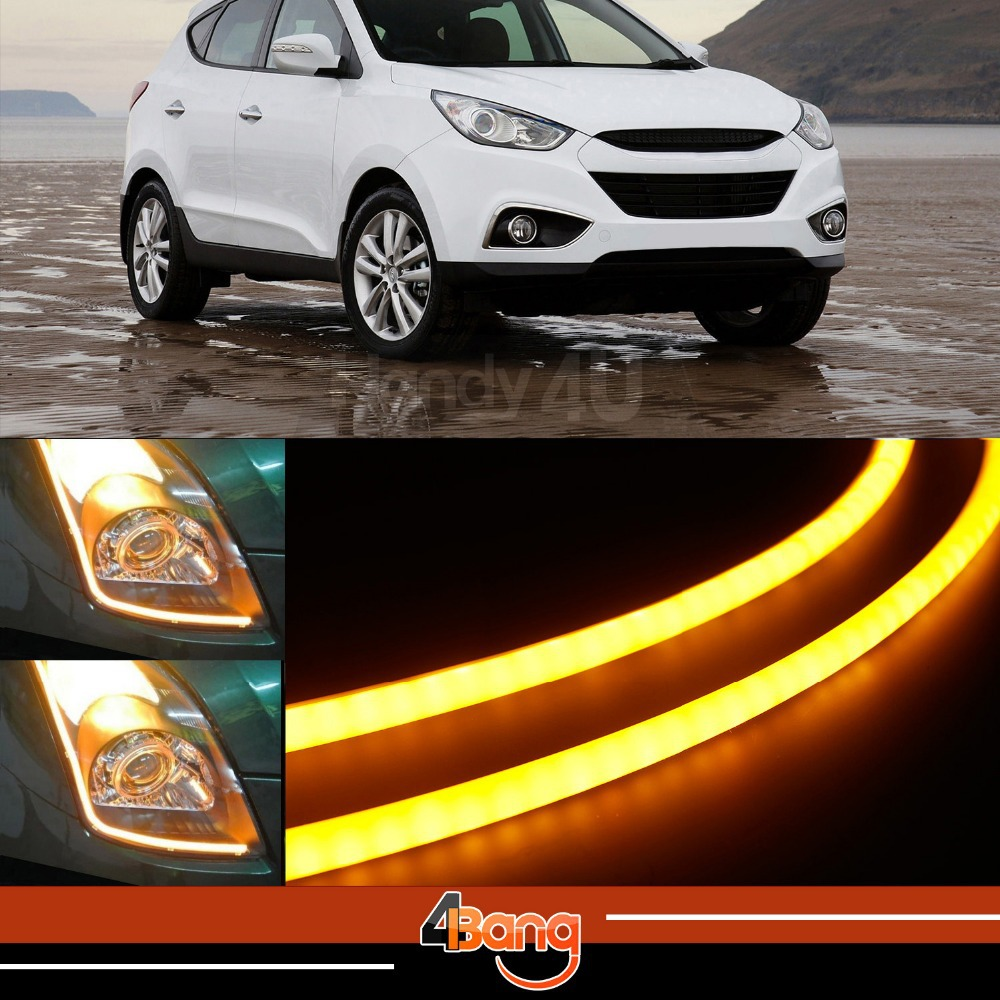 2x 60cm DRL Flexible LED Tube Tear Strip Style Car Headlight Light Amber/White For Sonata Genesis Tiburon Tucson Veloster XG350<br><br>Aliexpress