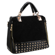 New Vogue Lady's PU Leather Split Joint Rivet Handbag Shoulder Bag Messenger Tote Black/Blue