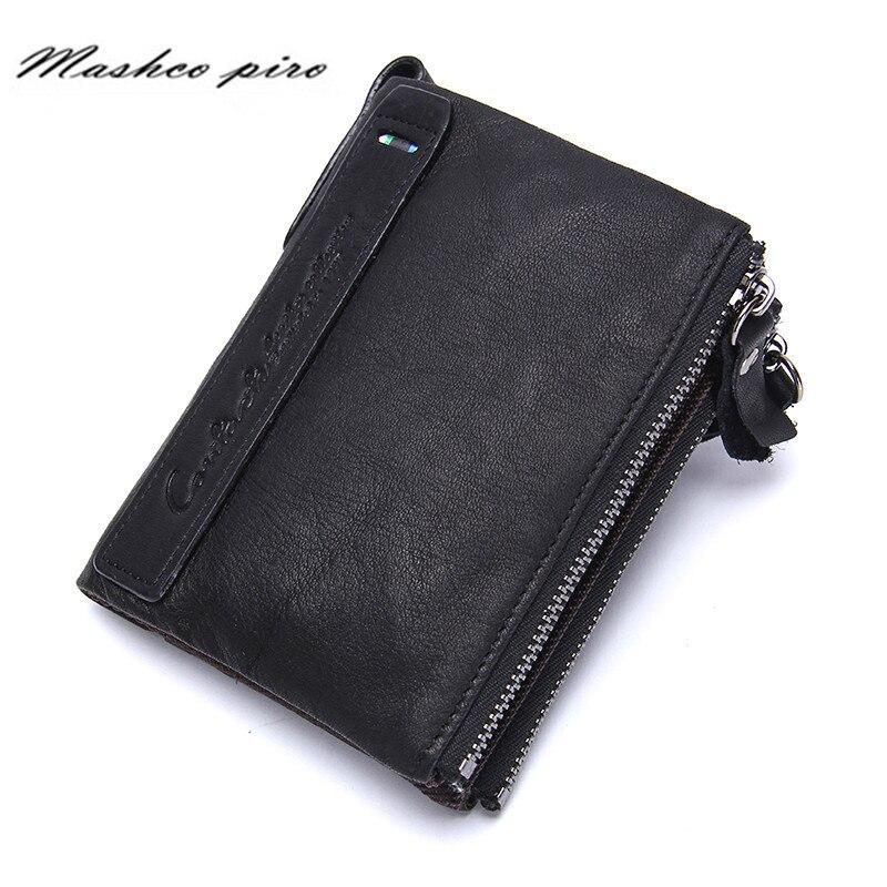 Genuine Leather Organizer Wallets Brand Vintage Double Zipper Cowhide Leather Short Bifold Black Mens Wallet Purse Card Holder<br><br>Aliexpress