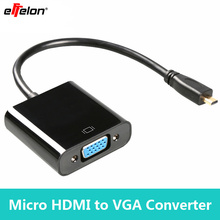 Effelon 1080P Micro HDMI Input to VGA Output For PC Monitor Projector Adapter Cable Converter Black and White