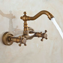 Free shipping Kitchen Mixer Faucet Wall Mounted Dual Handle Antique Copper Finish Bathroom hot&cold swivel mixer GI84