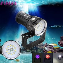 Alta qualidade 10x xm-l2 + 4x r + 4x b 12000lm led fotografia vídeo scuba diving flashlight torch