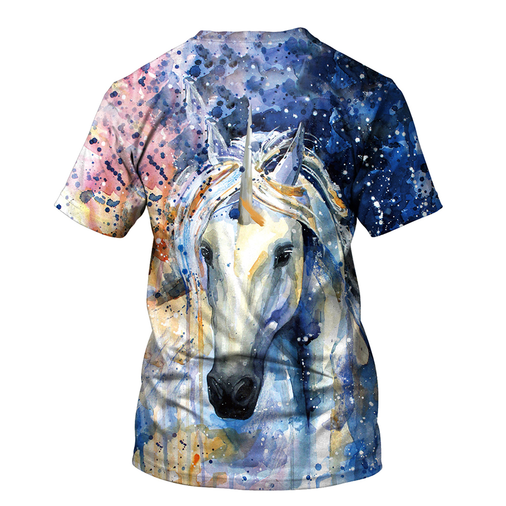 FCCEXIO 2018 New Summer T Shirt Women Animal Horse 3D Print Oil Color Tshirt Hiphop Lnk Splash T-Shirt Harajuku Crop Top 23