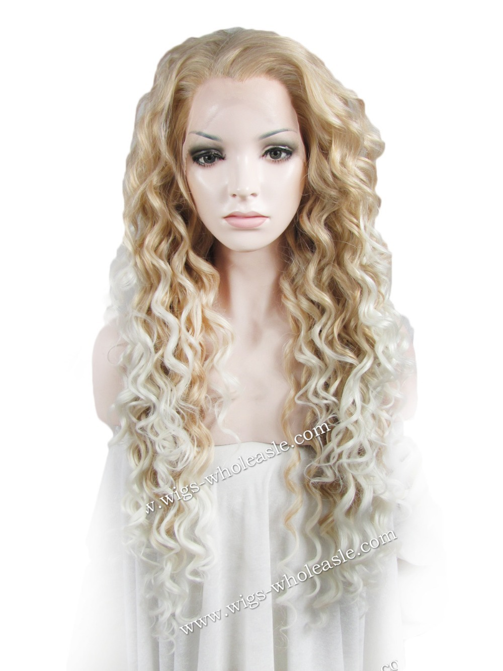 Long Curly Blonde White Bottom Two Tone Synthetic Front Lace Wig<br><br>Aliexpress