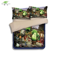 HOT SALE game theme bedding set Printed cotton queen full twin size 2/3 pcs Plants vs Zombies PVZ bed linen for Children's gift(China)
