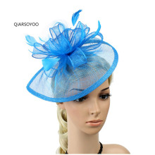 New Sky Blue Yellow Pink Purple Feather Sinamay Hair Bands Bridal Hats Wedding Party Floral Hair Fascinator Headband For Women