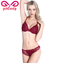 Buy GIRLADY Sexy Ladies French Bra Brief Sets Lace Transparent Lingerie Underwear Women B C Cup Bras Panty Red Ensemble Femme