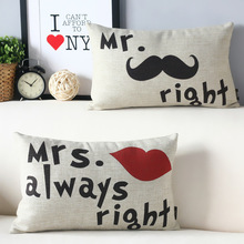 50*30 Cushion Cover Couple Lover Mr Right Mrs Always right Home Wedding Gift Throw Pillows Home Car-covers Waist Pillowcase(China)