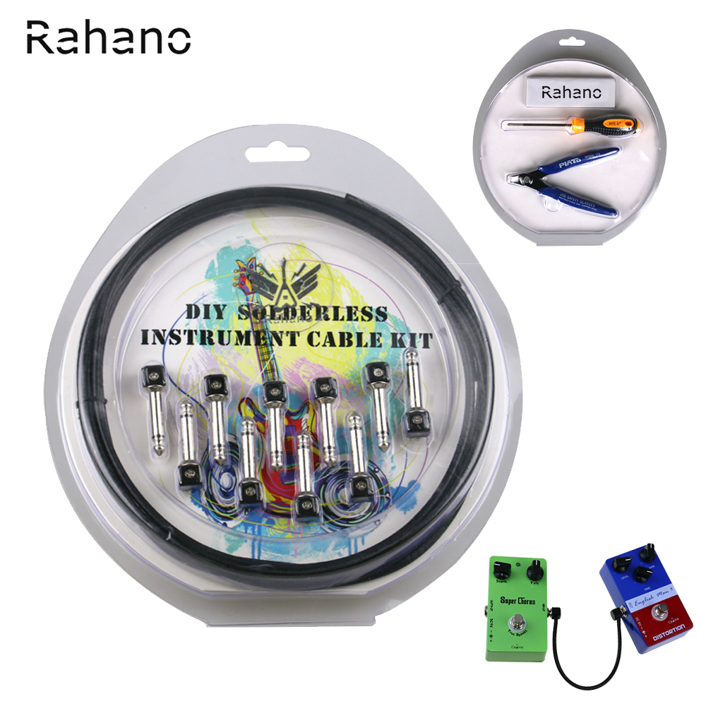 Rahano DIY Solderless Guitar Cable Kit, Pedal board Customer With 10 feet Cable, 10 1/4 TS Plug For Guitar Effect Pedal  <br>