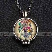 Perfume Aroma Pendant Necklace With Foam 25mm Glass Charms Beautiful Dreamcatcher Multi Pattern For Man Women & Girl DZ1753
