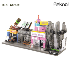 4sets/Lot Mini Street Jewelry bookstore grill Cake Shop streets Kit Compatible Building Bricks Block City Kid toy(China)
