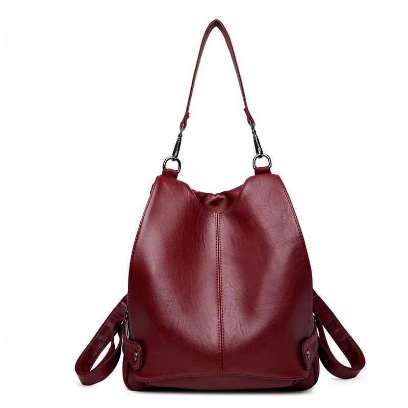 Preppy Style Female Backpack Women Soft Leather Backpacks For Teenage Girls School Bag Multi-purpose Shoulder Bag Daily Backpack<br>