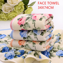 Printed toweHot sale fashional flowers printed design velvet soft feel Home Terry fabric 100%brand to cotton Face towel(China)