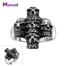 Men's Ring 1 PC Skull Cross Punk 316L Stainless Steel Cool Anello Uomo Party Gift For Boyfriend US Size 8/9/10/11