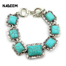 Newest Classical Women's Retro Vintage Natural Square Green Howlite Stone Bracelet Cute Tibet Silver Color Chain Link Bracelet(China)