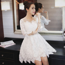 Lace Vintage Dress 2016 Spring Korean Sexy Slim Fit Hollow Out Beautiful Sweet Ball Gown