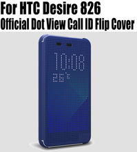 Retail Hot Sale Silicon Case For HTC Desire 826 Case Offcial Dot View Call ID Flip Cover No: D8261(China)